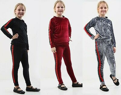 Girls Side Stripe Velvet Tracksuit Kids Velour Lounge Wear 2 PC Co-Ord Set UK
