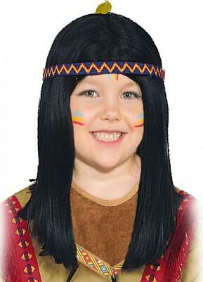 Girls Boys Black Native Indian Wig Wild West Book Day Fancy Dress Costume Outfit
