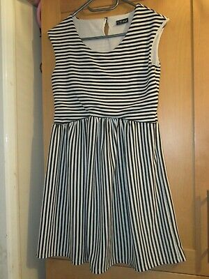 Next Girls Age 16 Years Black/White Striped Dress