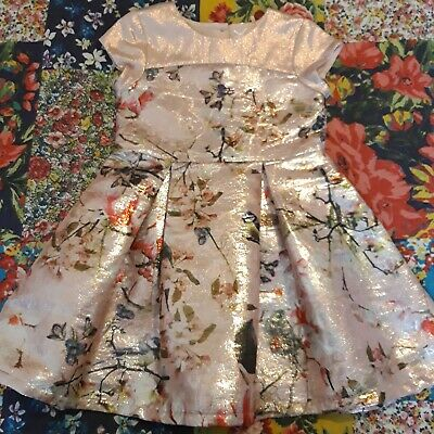 Next Age 4 Girls Shiny Floral & Bird Print Dress Party Occasion Christmas