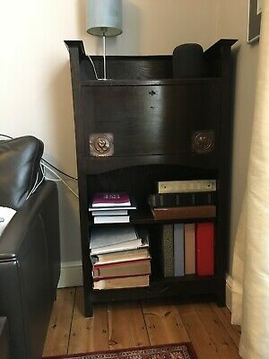 Small Arts and Crafts Original Antique Bureau/Desk Bookcase with Brass Detail