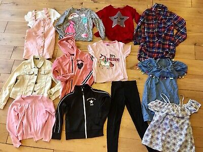 Girls Age 6-7 Years Bundle Next Tartan Shirt Dress Denim Jacket Hoodie Trolls