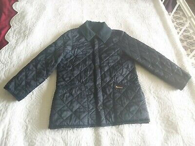 Childs Girls Barbour Navy Blue Liddesdale Jacket Coat L 10 12Yrs Cord Collar