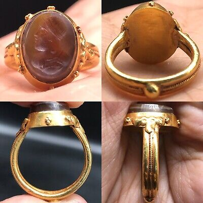 Wonderful Agate Ancient 22k karat Gold Roman Ring With Roman Face 6.3Gr