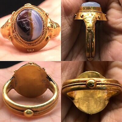High carat 22K Gold Roman Agate stone face intaglio Ring