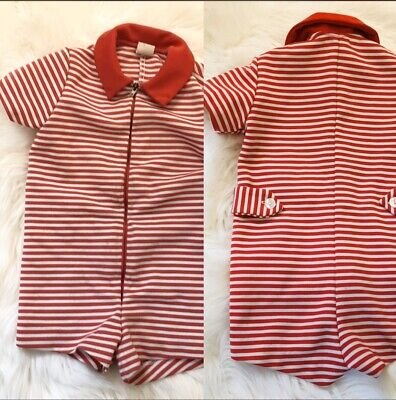 Vintage Boys One Piece Red & White Striped Zip Up Bathing Suit