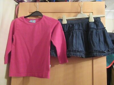 Girls 2-3 Years Outfit Pink Long Sleeve Top, Denim Skirt