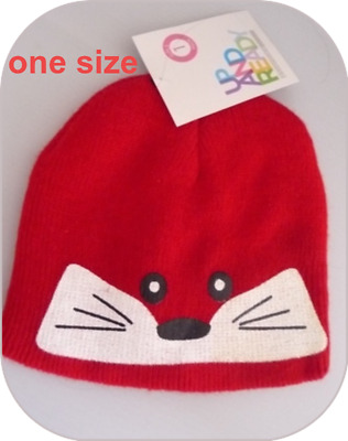 ONE SIZE RED ANIMAL FACE UP AND READY Beanie Hat BNWT Girls Childs kids boys new