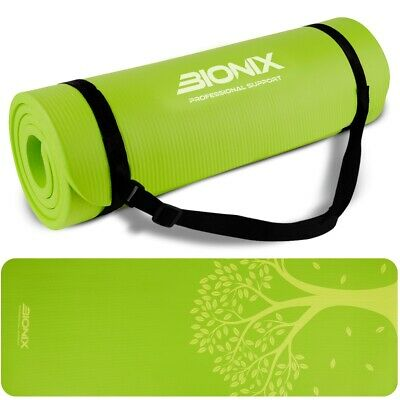 Yoga Mat 15mm Thick Exercise Fitness Gymnastics Large with Carry Strap NBR Foam
