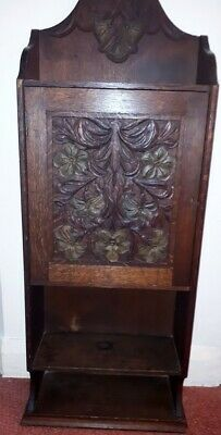 Antique Vintage Small Carved Oak Floor Bookcase / Cabinet circa 1910/1920's