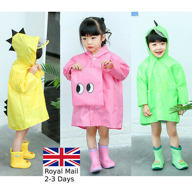 Boys Girls Kids Raincoat Dinosaur Cute Children PVC Hooded Quality Rain Coat