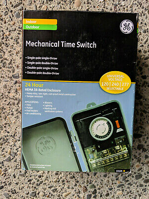 GE 24-Hour Outdoor Mechanical Metal Box Timer for Fans Pumps Pool Heaters Aircon