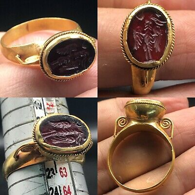 Lovely Old Roman intaglio Agate Stone intaglio High 22K carat Gold Ring
