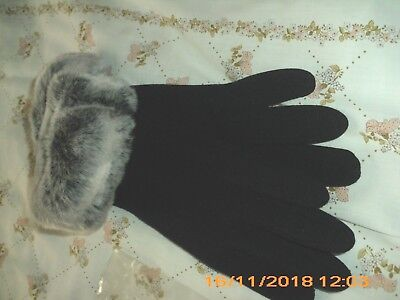 ladies / girls gloves  Black with polyester    trim tops
