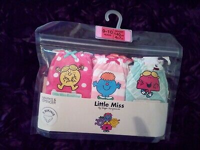 Marks and Spencer Little Miss Girls Bikini Pants / Knickers x3- Age 9-10 Yrs-New