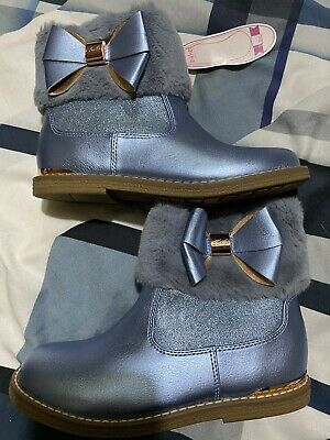 Ted Baker Girls Blue Fur Cuff Boots Size Uk Size 12 Bnwt