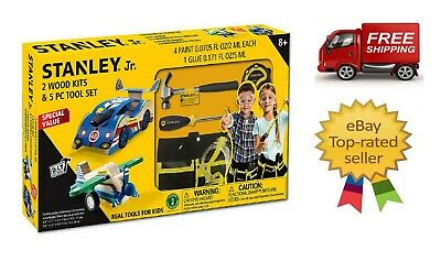 Stanley Jr. 2 Wood Kits & 5-Piece Tool Set Great Gift FREE SHIPPING