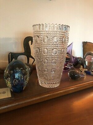 VINTAGE 12 Inch Beautiful Czech Bohemian Crystal Vase Large Hand-cut From Edtate