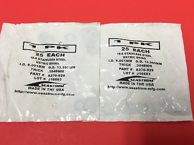 Seastrom - P/N: A370-929 - S.S. Metric Shims - LOT OF (50) - NEW