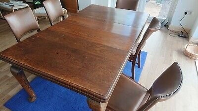 Large Antique Victorian Solid Wood Wind Out Extending Dining Table and 6 chairs