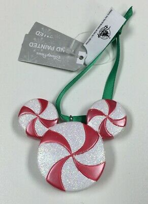 Disney Parks Hidden Mickey Ear Candy Cane Painted Christmas Holiday Ornament