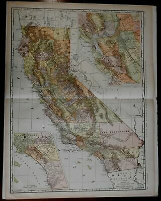 California State 1902 large Rand McNally Detailed color Map
