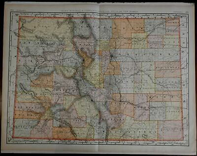 Colorado State Map 1902 Rand McNally large & very detailed map