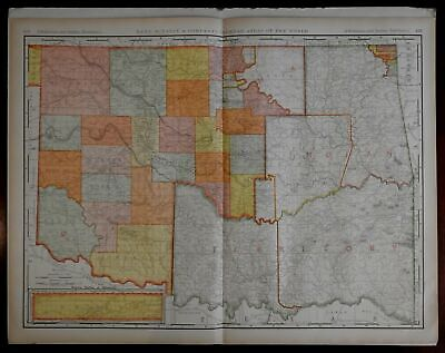 Oklahoma & Indian Territory transitional 1902 Rand McNally large detailed Map