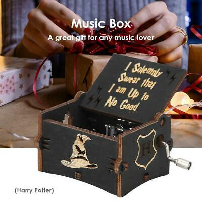 Vintage Wooden Hand Cranked Music Box Retro Home Ornaments Xmas Kids Gift