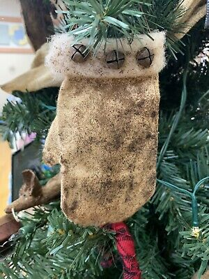 Primitive Handmade Christmas Ornament Set 5 Mittens Artist Made OOAK