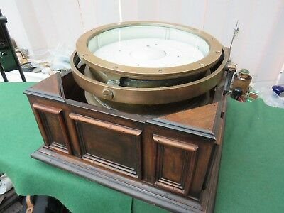 Large Rare Vintage Double Sided Compass On Gimbals In Fitted Wooden Base
