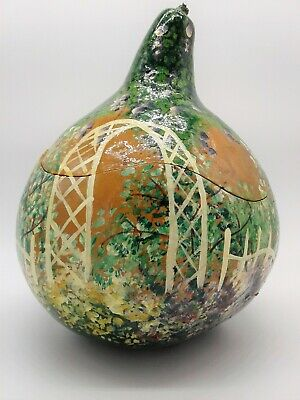 Hand Painted Floral Garden Gourd Container Box Carved With Lid, Folk Art, Nature
