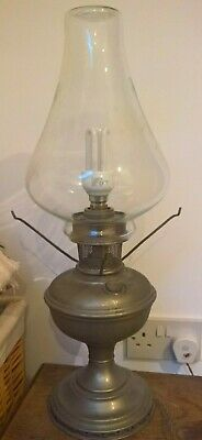 Converted oil lamp - brass base - glass shade