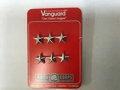 Us Navy Coast Guard Officer Collar Device Vice Admiral Ranks 3 Star Set Of 2