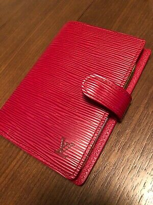LOUIS VUITTON Red EPI leather small Agenda Planner Cover with LV Gold Pen CA0072