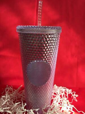 STARBUCKS Platinum/Silver Bling Studded 2019 Holiday Iridescent Huge Cold Cup