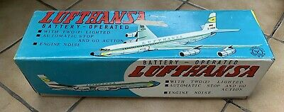 Vintage Tin, Yanoman Toy, Japan, Auto Stop & Go Lufthansa Airplane