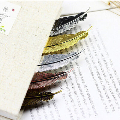 Feather Shaped Gold Plated Metal Bookmarks Book Markers Gift For Readers HD