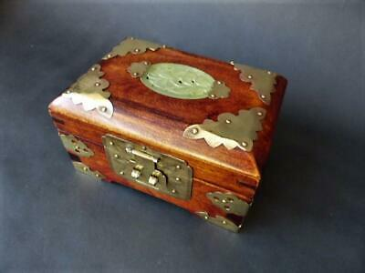 Vintage Oriental Wooden Chest Jewellery Box With A Jade Cartouche To The Lid