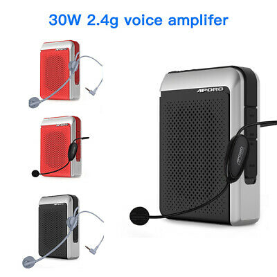 30W Wired Bluetooth Megaphone Headset Booster Mic Speaker Rechargeable FM Radio