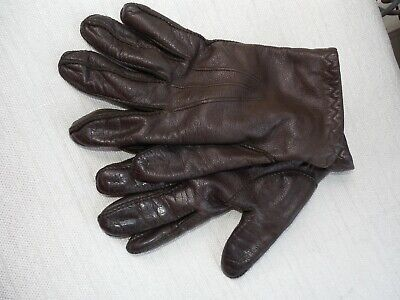 MEN'S Brown Leather Driving Gloves - Lined Size Small  Comfy Warm