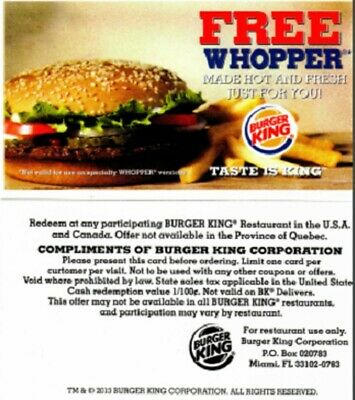 Lot of 6 Burger King Whopper Vouchers - SUPER FAST DELIVERY W/ Proof of Mailing!