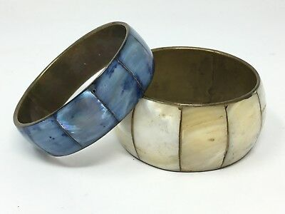 Mother of Pearl Bracelets Inlaid on Brass Oriental White and Blue set of 2 vtg