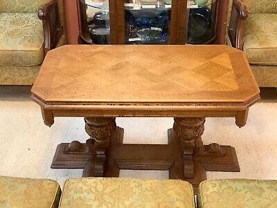 Ornately Carved Coffee Table / Side Table with Parquetry Top