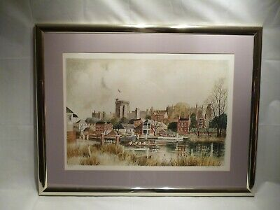 5/250 Limited Edition Framed Print Of Eton Bridge By Jeremy King Born 1933 /4126