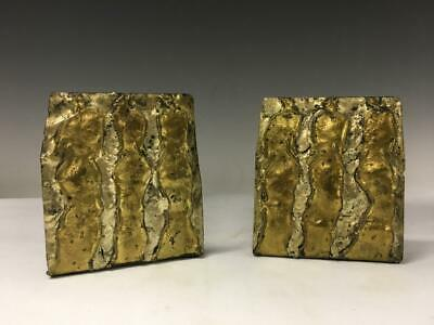 Vintage Mid Century Modern Abstract Mixed Metal Bookends Modernist Brutalist