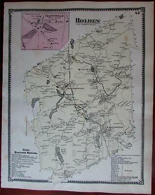 Holden Chaffinville 1870 Worcester Co. Mass. detailed map