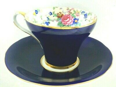 """QI.  Vtg """"Aynsley"""" Bone China Cobalt  Blue Tea Cup and Saucer Made in England"""