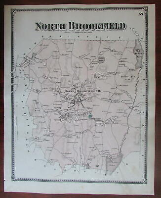 North Brookfield 1870 Worcester Co. Mass. detailed map