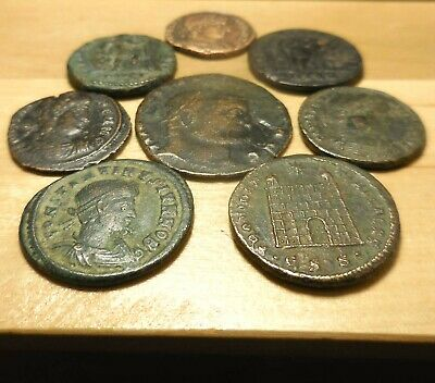 Impressive Lot of 8 VF-VF+ Ancient Roman Coins, All Easy to ID! Largest 22.5 mm
